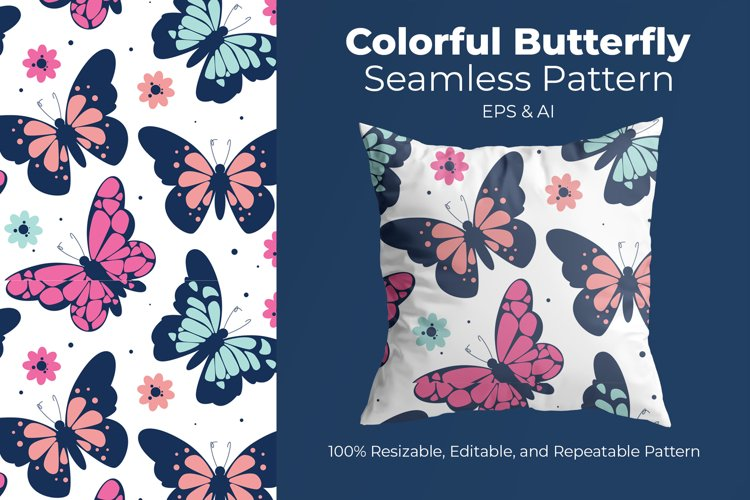 Colorful Butterfly - Seamless Pattern example image 1