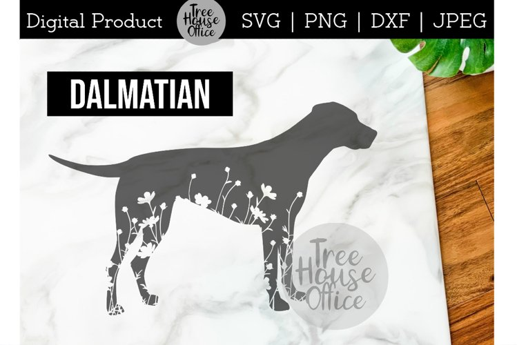 Dalmatian SVG, Dog with Flowers SVG PNG, Floral Dalmatian