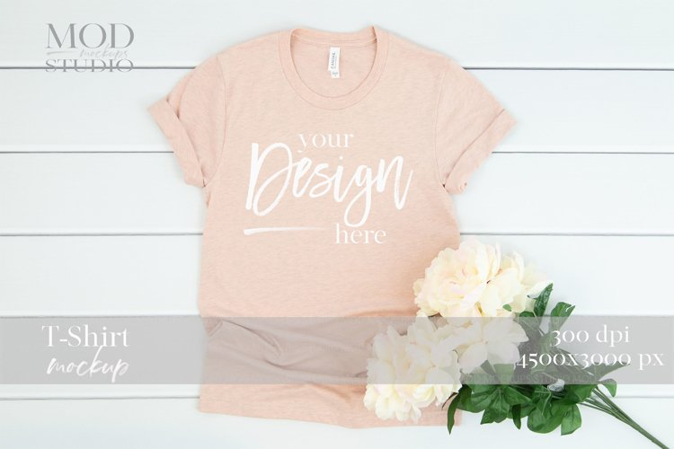 Heather Prism Peach T-Shirt Mockup 3001 Bella Canvas Mock up