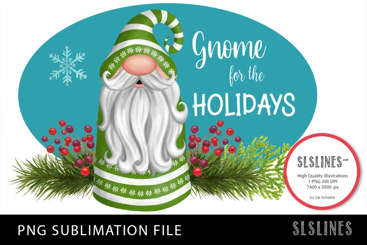 Gnome Christmas in Green PNG sublimation example image 1