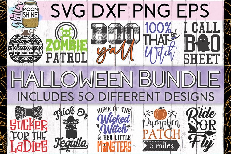 Huge Halloween Bundle of 50 SVG DXF PNG EPS Cutting Files example image 1