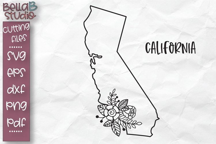 California State SVG, California Floral State Map SVG, Cali