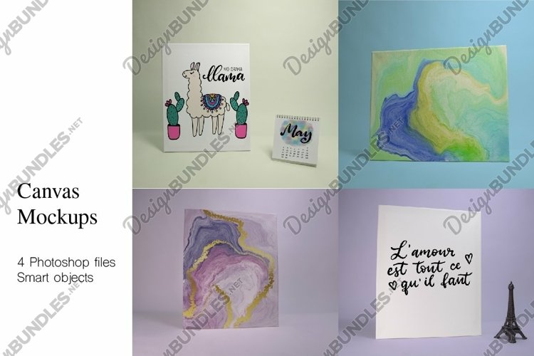 Canvas Mockups. 4 Photoshop files with smart objects. example image 1