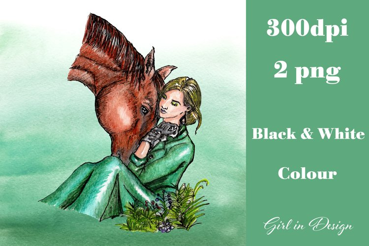Girl in a Green Dress with a Horse Clipart example image 1