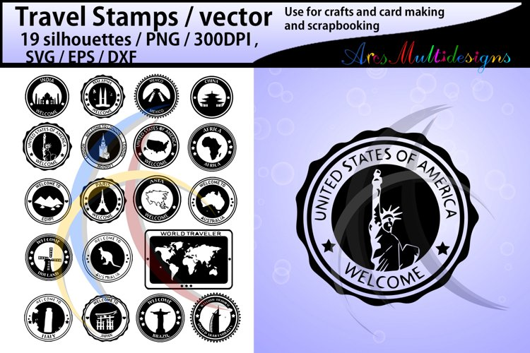 Travel Stamps vector / Travel Stamp silhouette / vector example image 1