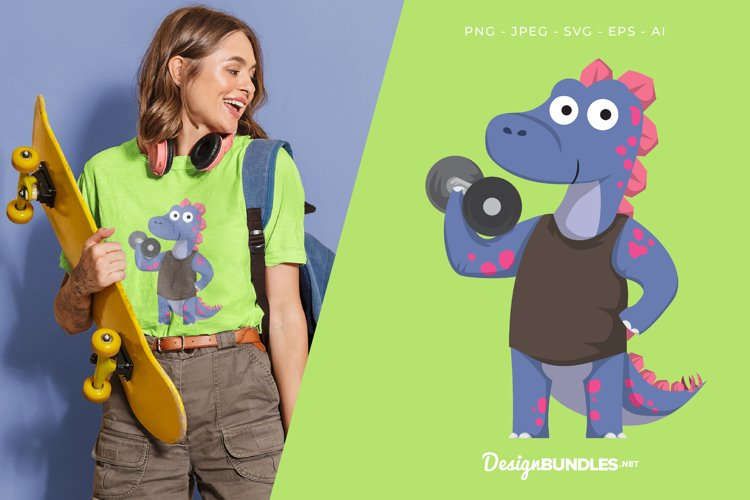 Stegosaurus Lifting Dumbbell Vector Illustration For T-Shirt