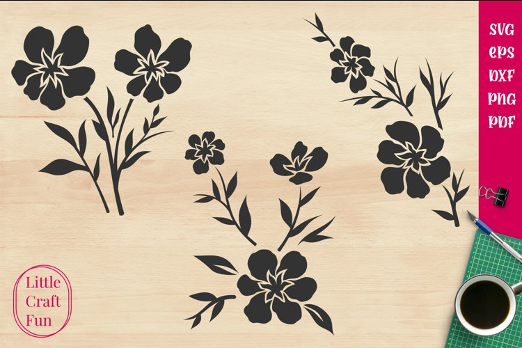 Flowers Silhouette Svg, Florals Silhouette Svg, Silhouette example image 1
