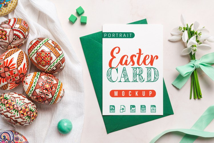 Portrait Easter Card Mockup PSD and JPG example image 1