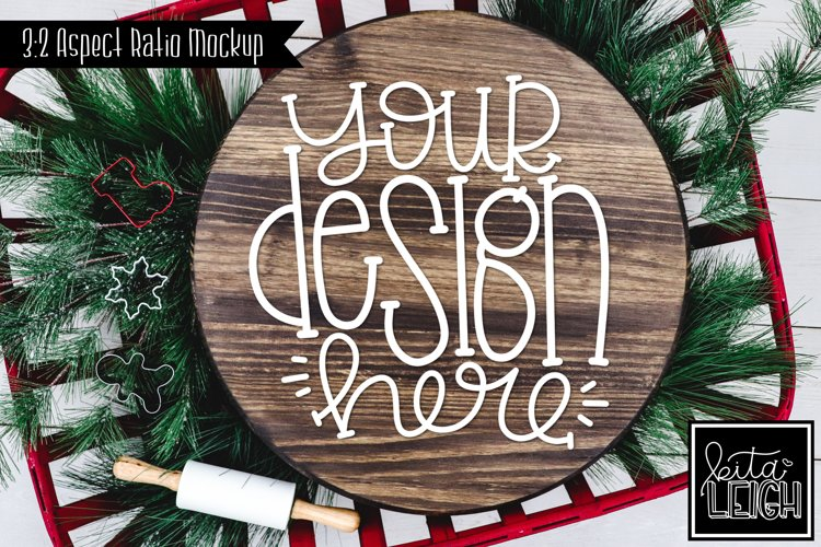 Wood Round Christmas Mockup with Cookies example image 1