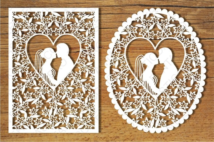 Wedding cards 3 SVG files for Silhouette and Cricut. example image 1