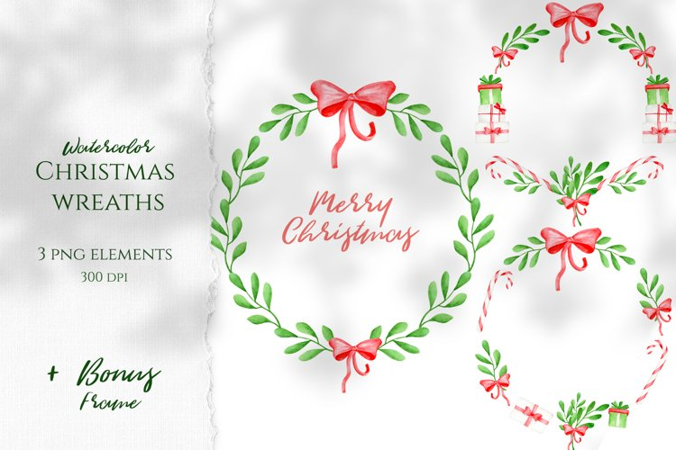 Watercolor Christmas Wreaths. Hand drawn holiday cliparts example image 1