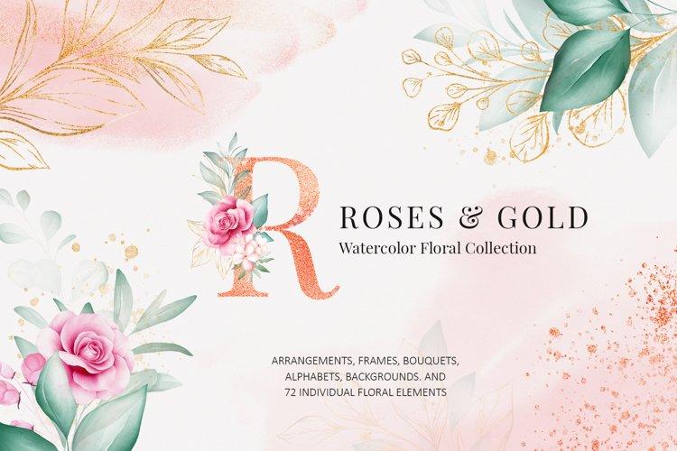 Watercolor Flowers Roses & Gold Clipart Bundle