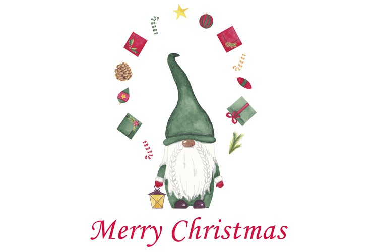 Watercolor christmas gnomes clipart, Christmas card design example image 1