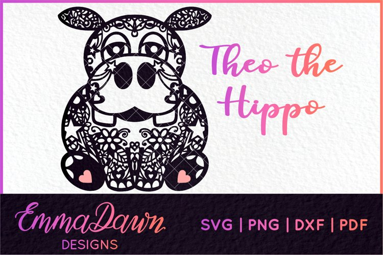 THEO THE HIPPO SVG MANDALA / ZENTANGLE DESIGN SVG example image 1
