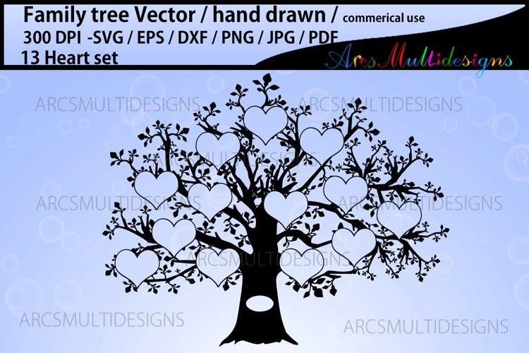 13 hearts family tree template / family tree vector