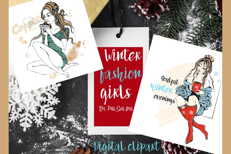 Winter clipart fashion girls knitted sweaters