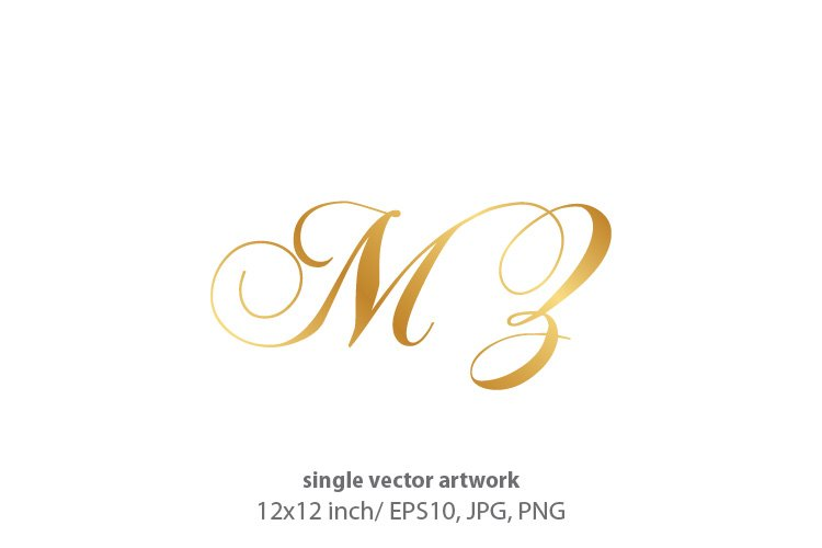 Calligraphic golden monogram letters M and Z example image 1