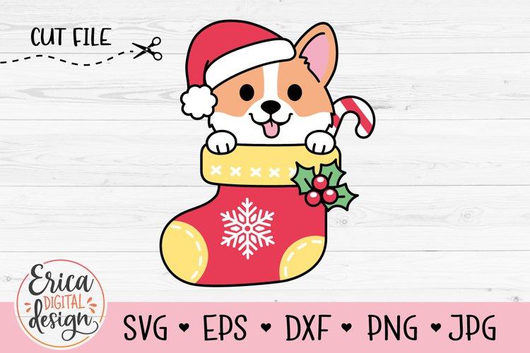 Christmas Corgi SVG cut file Funny Dog Christmas Stocking example image 1