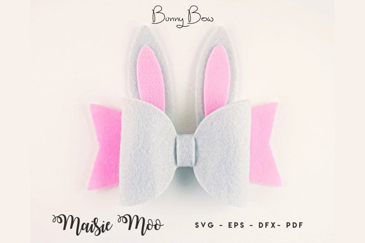 Bunny Bow SVG, Felt Rabbit Bow PDF, Easter Hair Bow Template example image 1