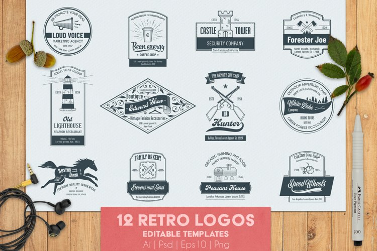 12 vintage template logos set example image 1