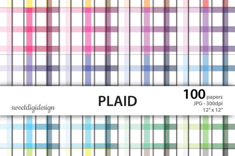 Colored plaid seamless digital paper example image 1