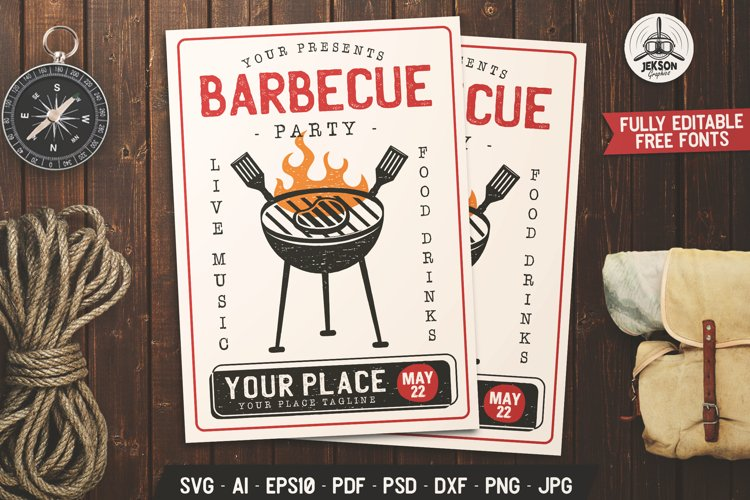 Barbecue SVG Card BBQ Flyer Template Editable DXF PNG Poster example image 1