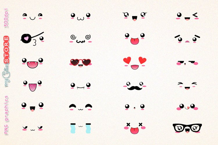 Kawaii expressions clipart emoticons funny expressions clip art png graphics set  for planner stickers, scraps or digital planning.