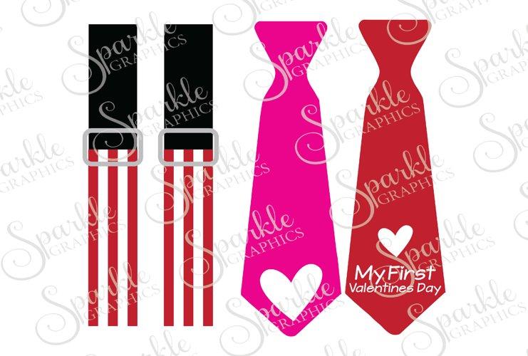 Valentine Suspender & Tie Cut File Set   SVG, EPS, DXF, PNG example image 1