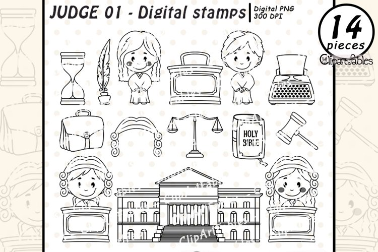 JUDGE digital stamps, Courthouse outline, Cute lawyer kids