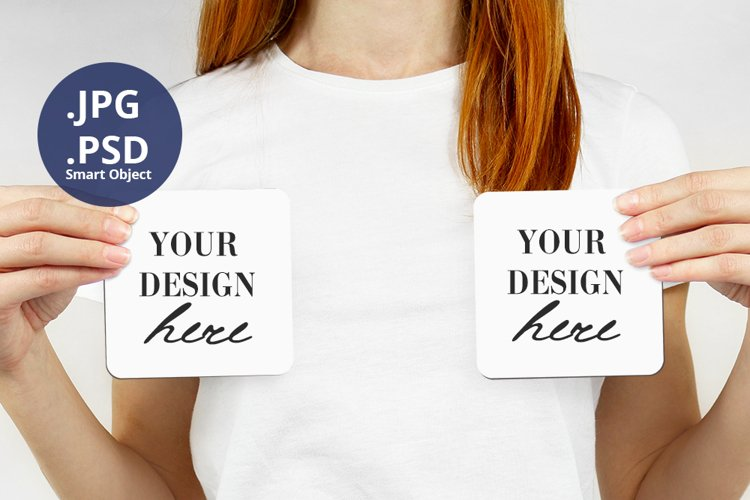 Woman holding 2 Coasters Mockup, Mother's Day Mockup PSD example image 1