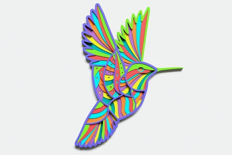 Multilayer Hummingbird Mandala, Vector file for cutting