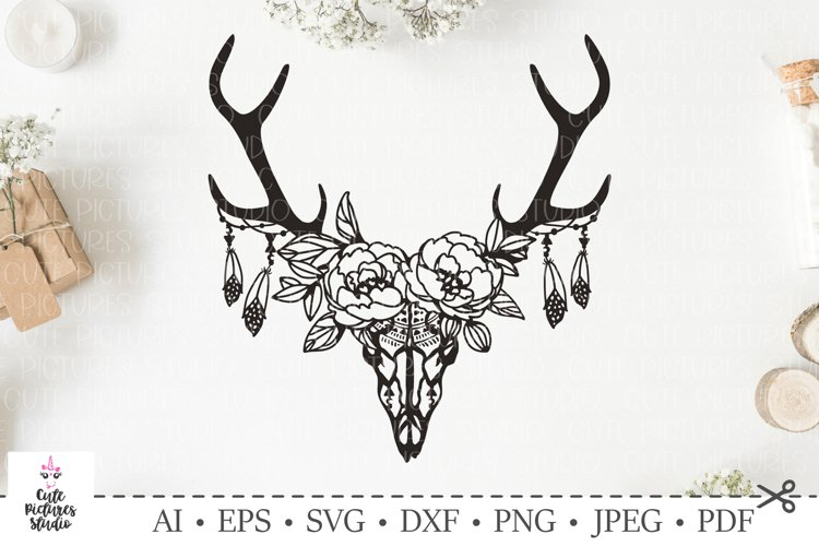 Skull Of Deer With A Wreath Of Flowers And Leaves Svg Cut 227587 Svgs Design Bundles