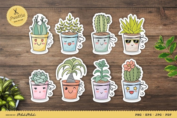 Home Plants, Cactus Characters/Printable Stickers for Cricut