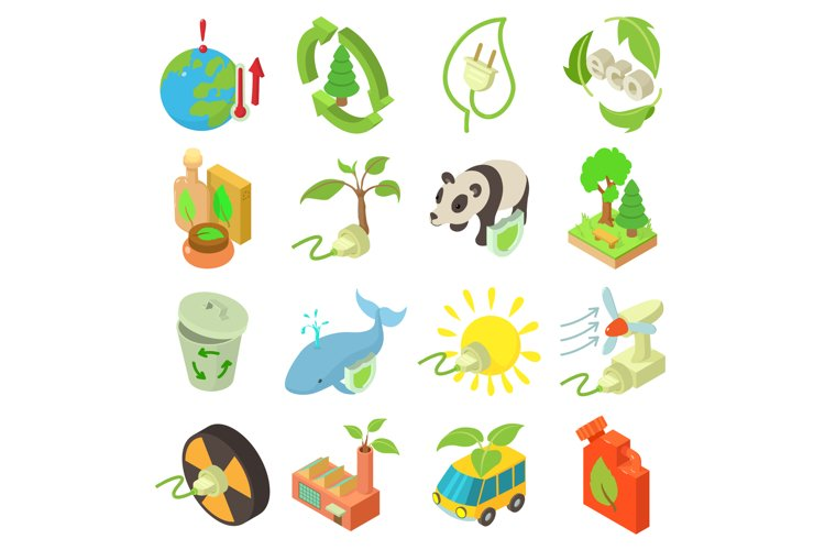 Ecology icons set, isometric style example image 1