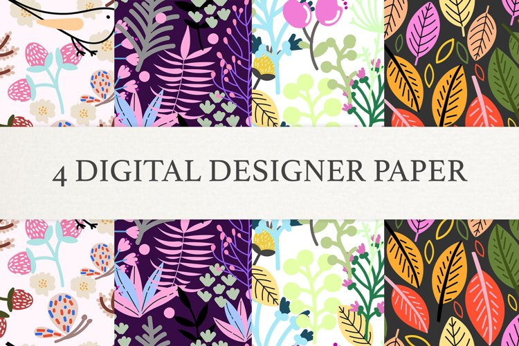 Floral Digital Scrapbook Paper, Seamless Patterns example image 1