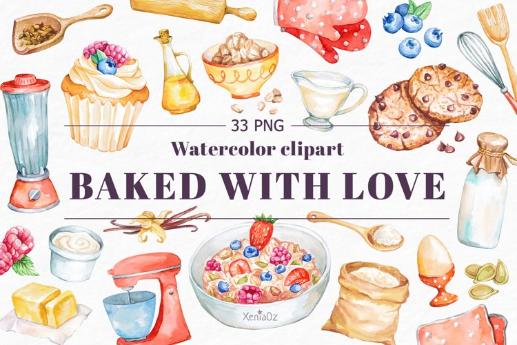 Baking Watercolor Clipart. Kitchen clipart. PNG example image 1