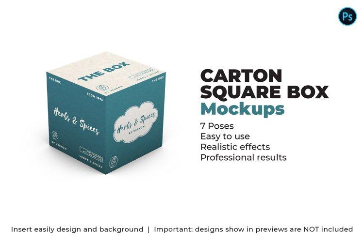 Carton Square Box Mockup - 100x100x100 - 7 Poses example image 1