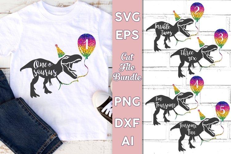 Dinosaur SVG Birthday Bundle   Ages 1 - 5   Rainbow PNG