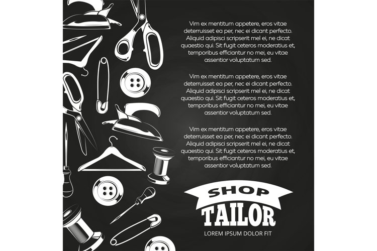 Tailor shop chalkboard poster example image 1