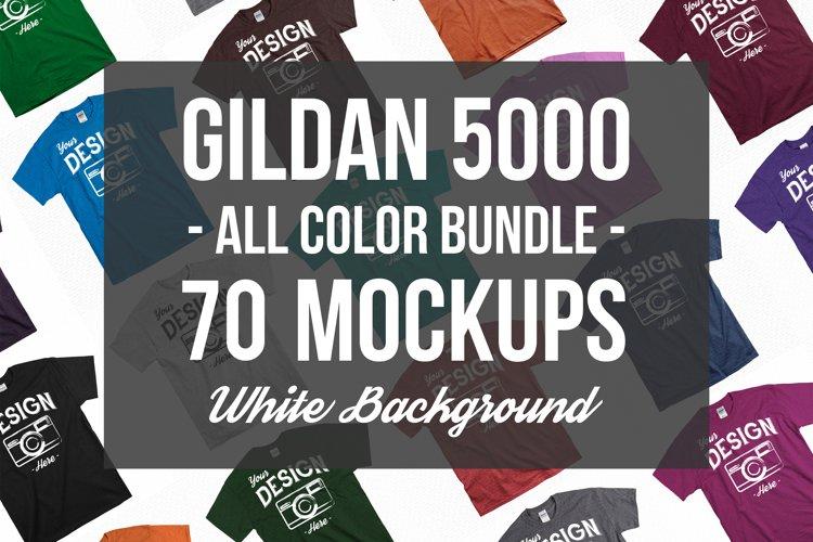Unisex T Shirt Mockup Bundle With White Backdrop 70 Colors example image 1