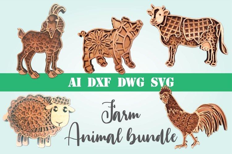 Farm Animal bundle 3d svg layered Multi layer mandala farm example image 1