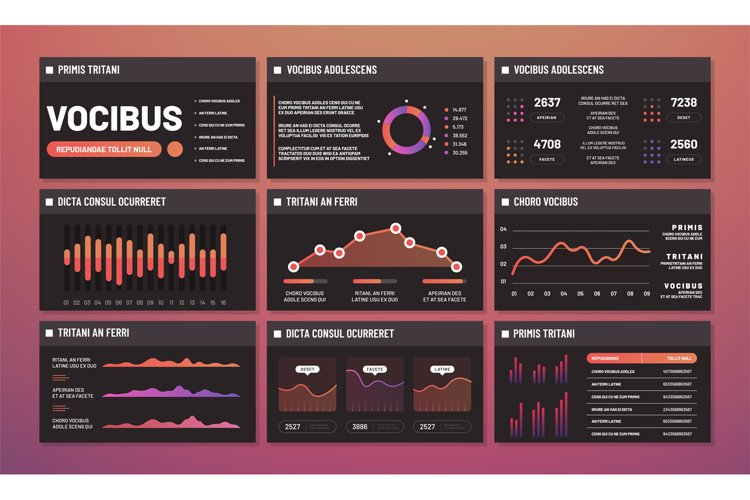 Presentation templates vector, infographic dashboards. Moder example image 1