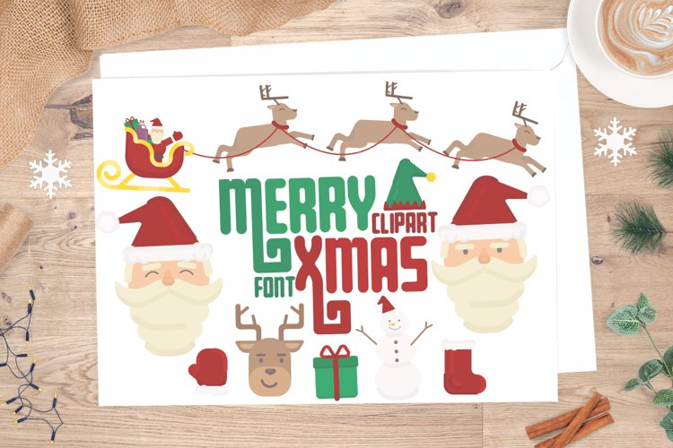 Merry Xmas CLIPART and FONT example image 1