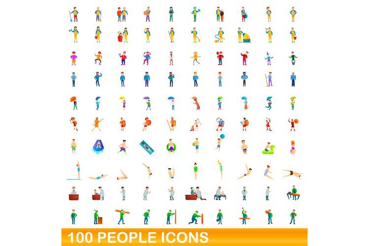 100 people icons set, cartoon style example image 1