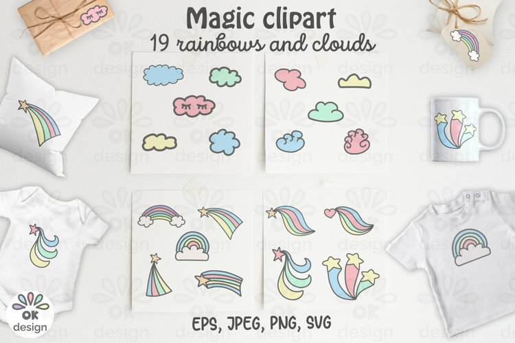 Rainbow Unicorn Clipart. Baby shower clipart, magic unicorn