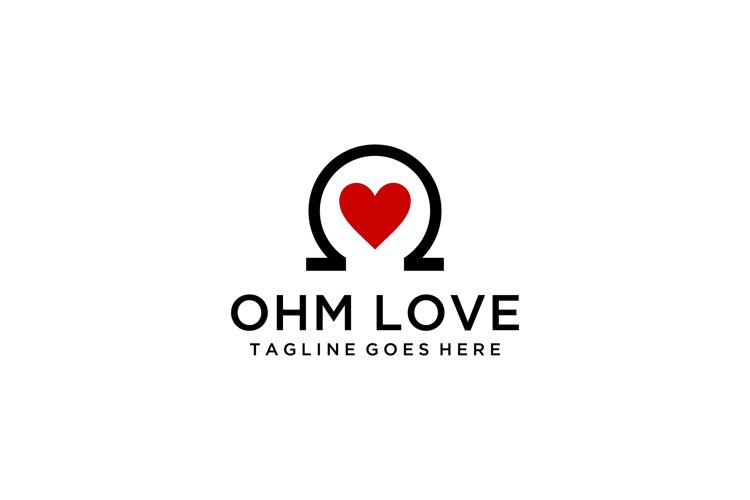 Creative modern ohm with heart sign abstract logo design ill example image 1
