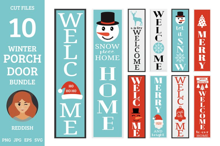 10 Christmas Porch door signs bundle, welcome signs example image 1