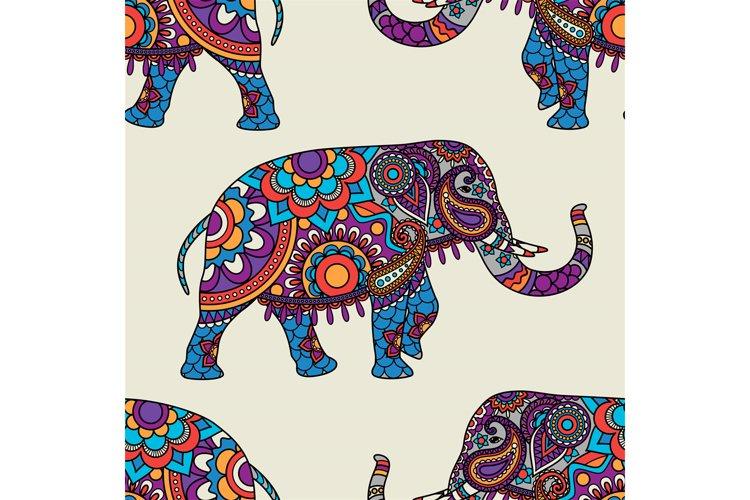 Doodle indian elephant seamless pattern example image 1