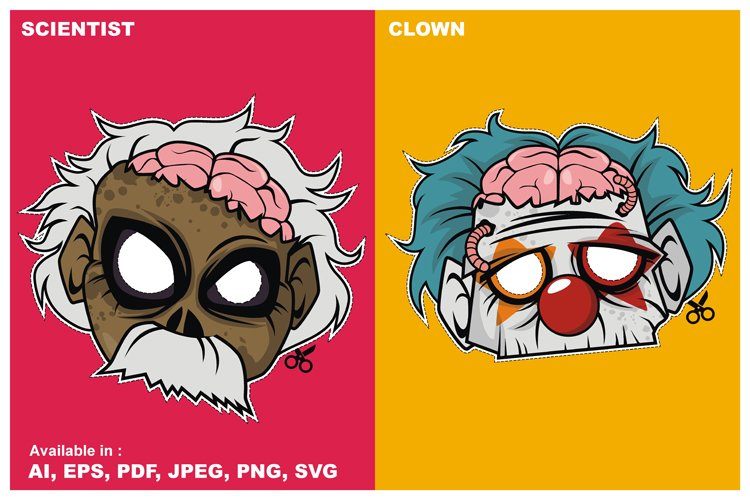 Zombie Invasion Paper Mask - Scientist vs Clown