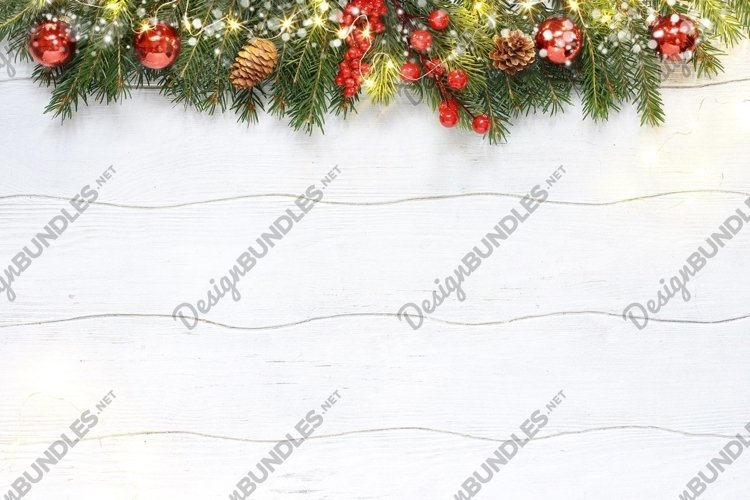 Christmas composition of red decoration with fir branches example image 1